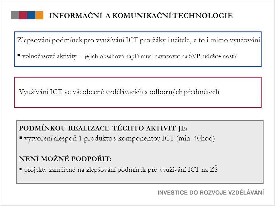 Zlepšování podmínek pro využívání ICT pro žáky i učitele, a to i mimo vyučování  volnočasové aktivity – jejich obsahová náplň musí navazovat na ŠVP; udržitelnost .