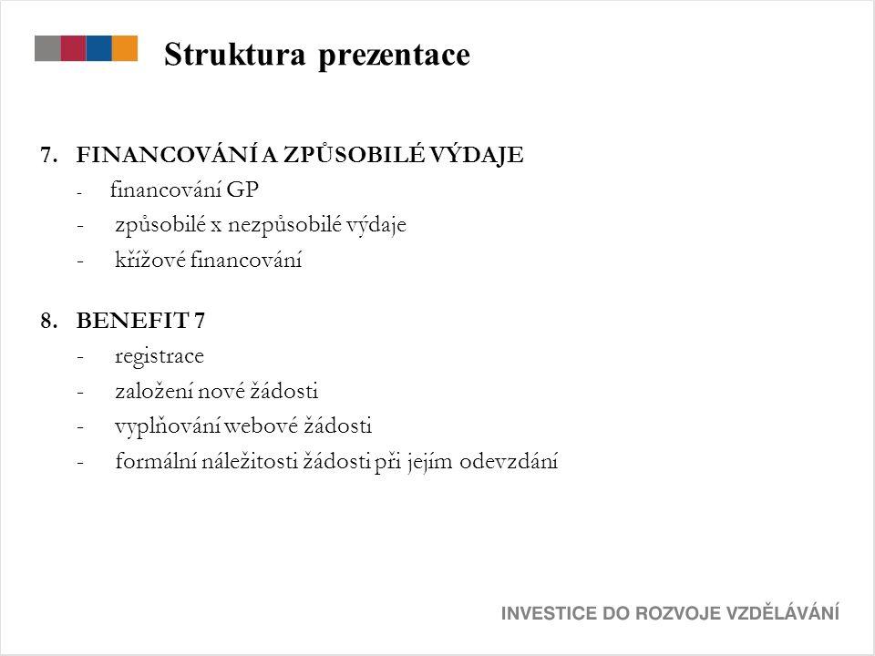 Struktura prezentace 7. FINANCOVÁNÍ A ZPŮSOBILÉ VÝDAJE - financování GP - způsobilé x nezpůsobilé výdaje - křížové financování 8. BENEFIT 7 - registra