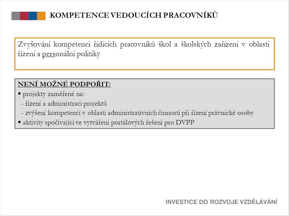 NENÍ MOŽNÉ PODPOŘIT:  projekty zaměřené na: - řízení a administraci projektů - zvýšení kompetencí v oblasti administrativních činností při řízení prá