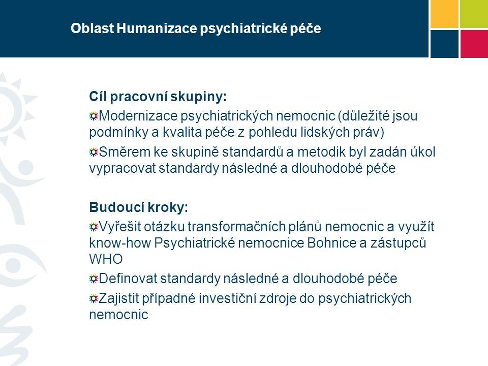 Oblast Humanizace psychiatrické péče Cíl pracovní skupiny: Modernizace psychiatrických nemocnic (důležité jsou podmínky a kvalita péče z pohledu lidských práv) Směrem ke skupině standardů a metodik byl zadán úkol vypracovat standardy následné a dlouhodobé péče Budoucí kroky: Vyřešit otázku transformačních plánů nemocnic a využít know-how Psychiatrické nemocnice Bohnice a zástupců WHO Definovat standardy následné a dlouhodobé péče Zajistit případné investiční zdroje do psychiatrických nemocnic