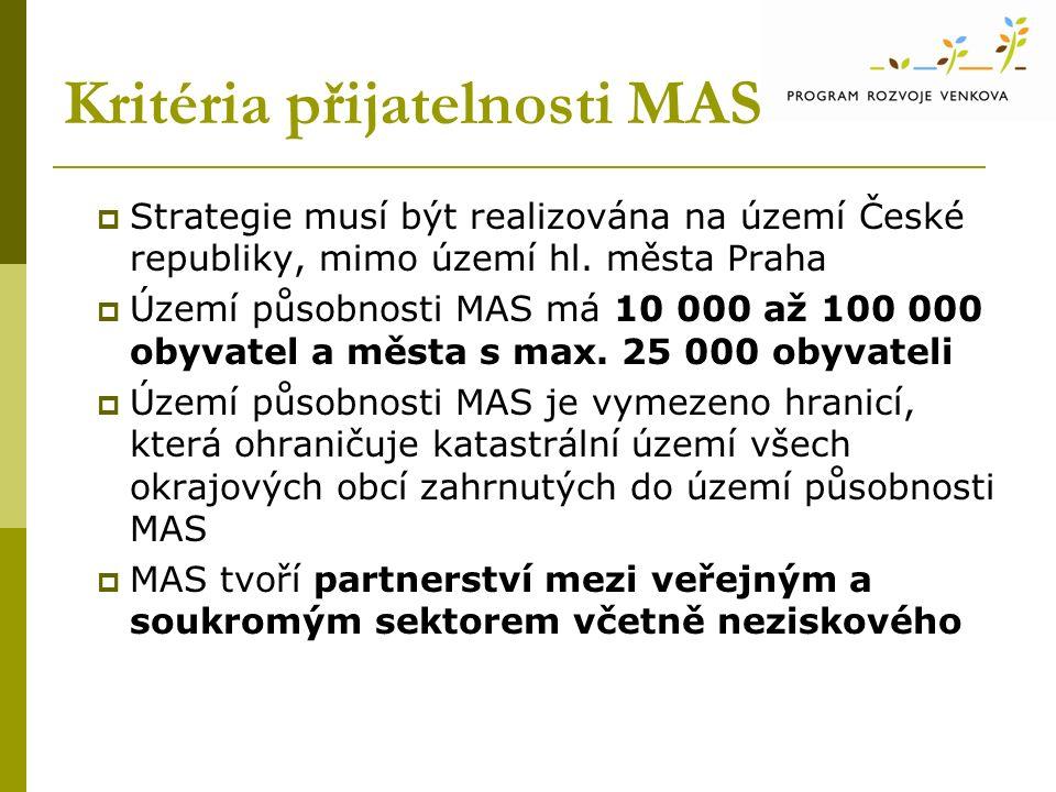 Kritéria přijatelnosti MAS  Strategie musí být realizována na území České republiky, mimo území hl.