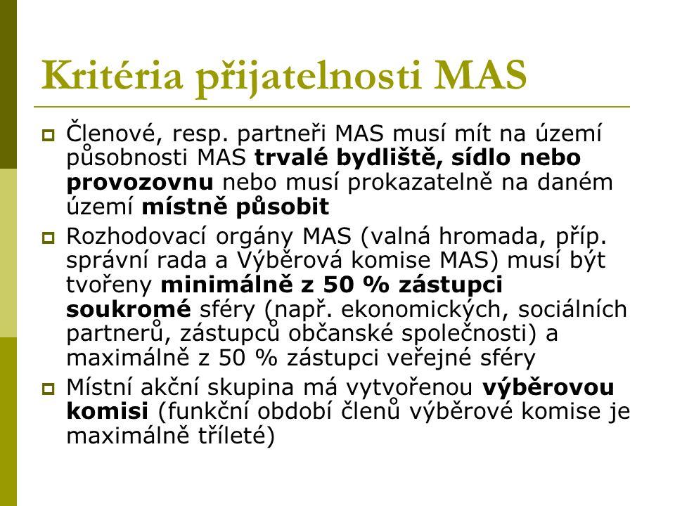 Kritéria přijatelnosti MAS  Členové, resp.