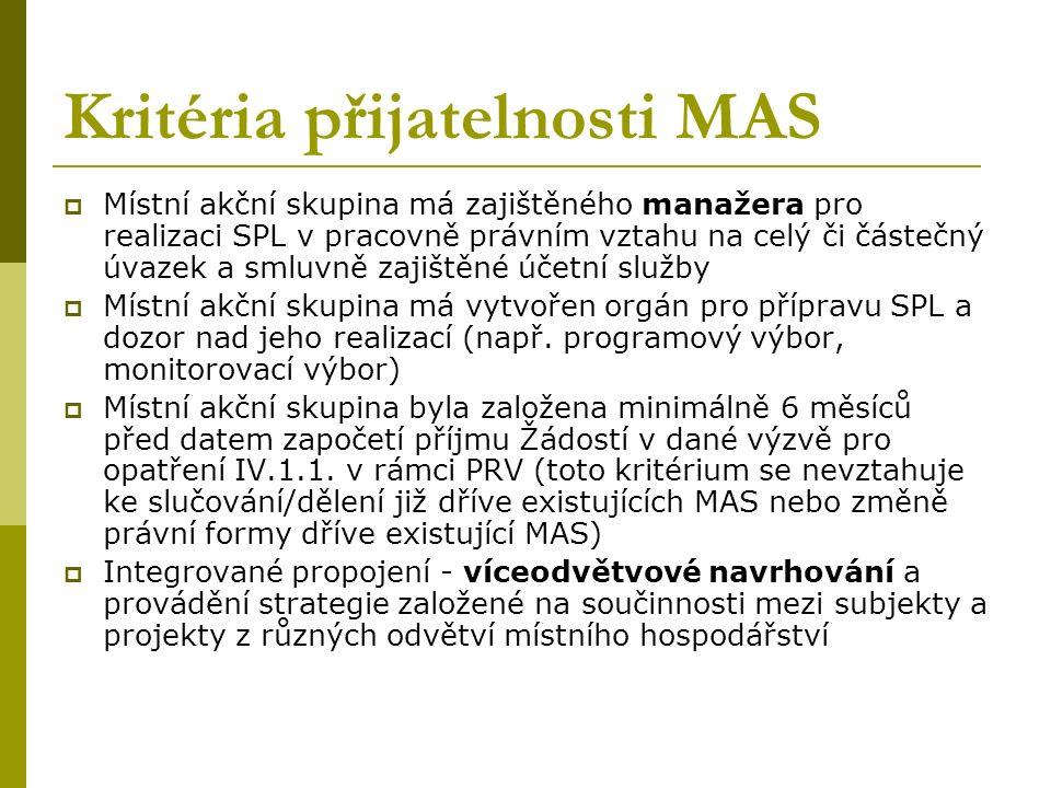 Kritéria přijatelnosti MAS  Místní akční skupina má zajištěného manažera pro realizaci SPL v pracovně právním vztahu na celý či částečný úvazek a smluvně zajištěné účetní služby  Místní akční skupina má vytvořen orgán pro přípravu SPL a dozor nad jeho realizací (např.