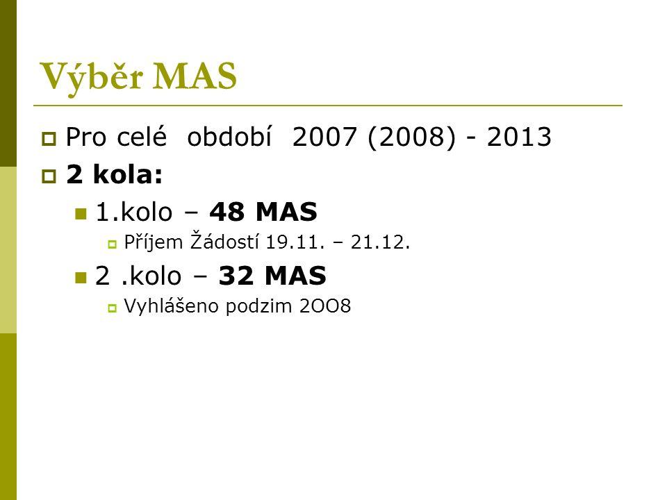 Výběr MAS  Pro celé období 2007 (2008) - 2013  2 kola: 1.kolo – 48 MAS  Příjem Žádostí 19.11.