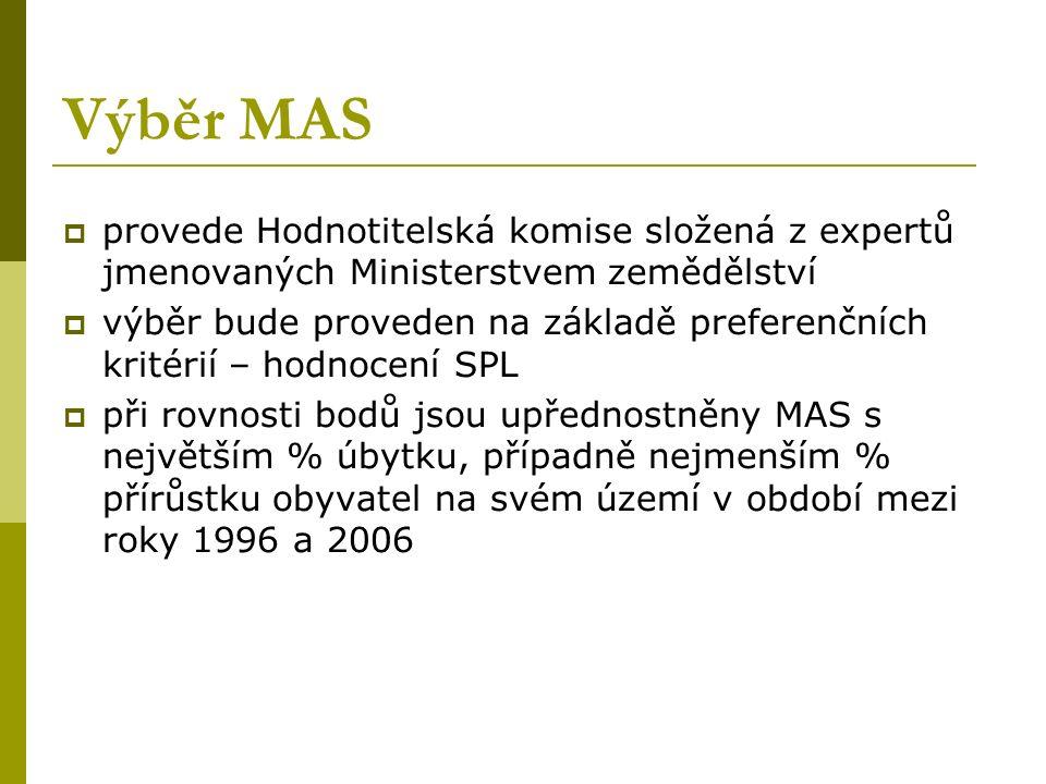 Výběr MAS  provede Hodnotitelská komise složená z expertů jmenovaných Ministerstvem zemědělství  výběr bude proveden na základě preferenčních kritérií – hodnocení SPL  při rovnosti bodů jsou upřednostněny MAS s největším % úbytku, případně nejmenším % přírůstku obyvatel na svém území v období mezi roky 1996 a 2006