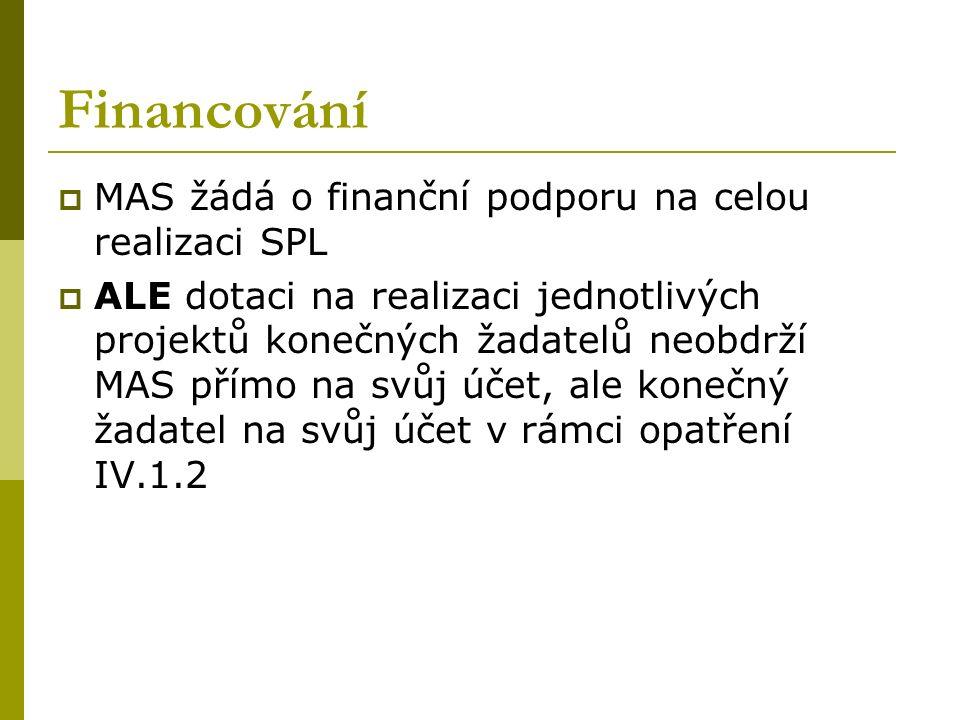 Financování  MAS žádá o finanční podporu na celou realizaci SPL  ALE dotaci na realizaci jednotlivých projektů konečných žadatelů neobdrží MAS přímo na svůj účet, ale konečný žadatel na svůj účet v rámci opatření IV.1.2