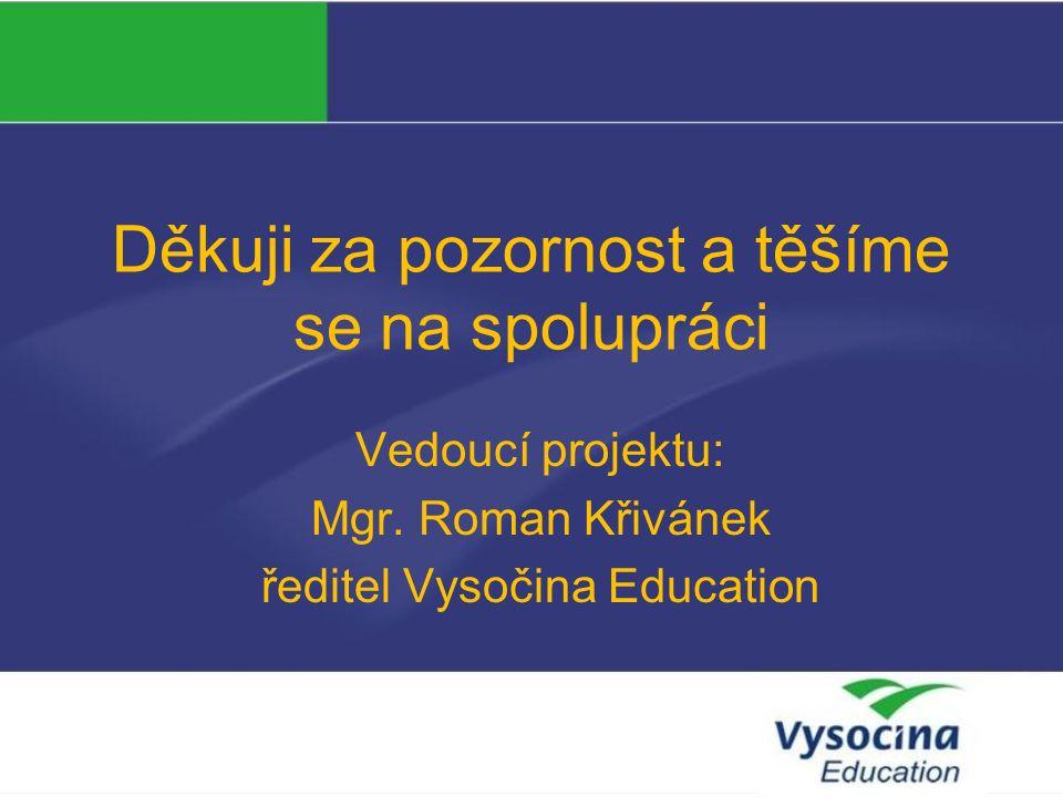 Děkuji za pozornost a těšíme se na spolupráci Vedoucí projektu: Mgr.