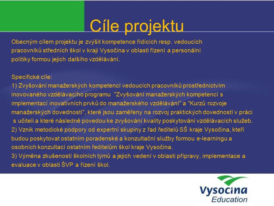 Cíle projektu Obecným cílem projektu je zvýšit kompetence řídících resp.