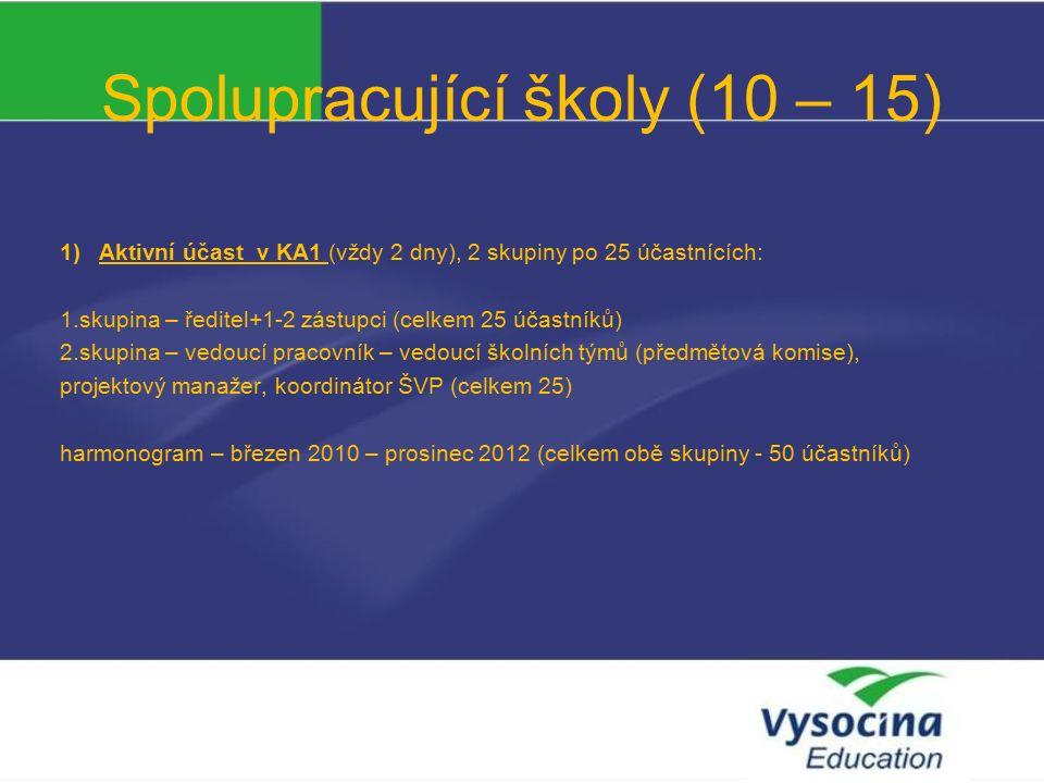 Spolupracující školy (10 – 15) 1)Aktivní účast v KA1 (vždy 2 dny), 2 skupiny po 25 účastnících: 1.skupina – ředitel+1-2 zástupci (celkem 25 účastníků) 2.skupina – vedoucí pracovník – vedoucí školních týmů (předmětová komise), projektový manažer, koordinátor ŠVP (celkem 25) harmonogram – březen 2010 – prosinec 2012 (celkem obě skupiny - 50 účastníků)
