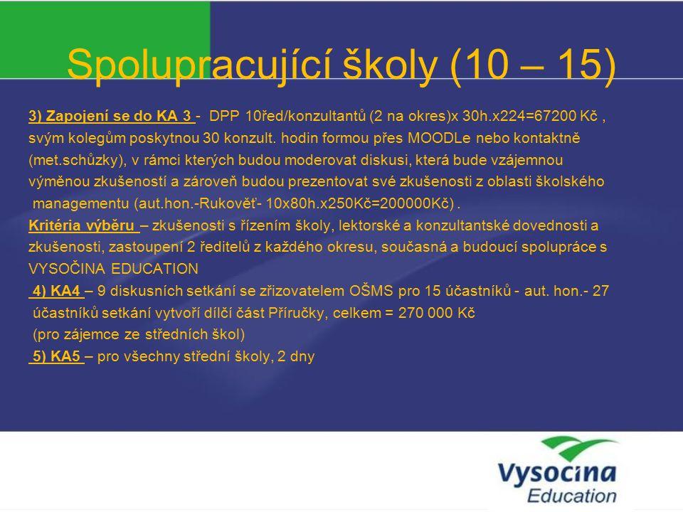 Spolupracující školy (10 – 15) 3) Zapojení se do KA 3 - DPP 10řed/konzultantů (2 na okres)x 30h.x224=67200 Kč, svým kolegům poskytnou 30 konzult.