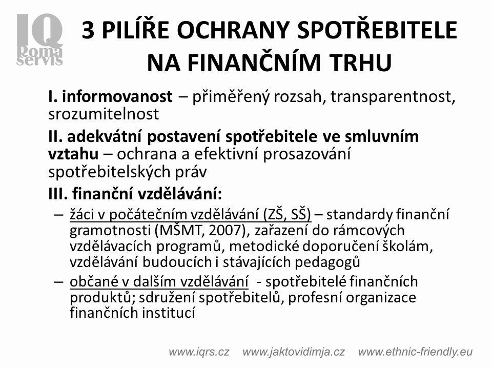 3 PILÍŘE OCHRANY SPOTŘEBITELE NA FINANČNÍM TRHU I.