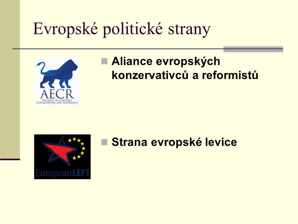Evropské politické strany Aliance evropských konzervativců a reformistů Strana evropské levice