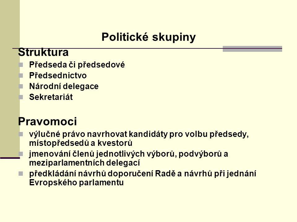 Politické skupiny Struktura Předseda či předsedové Předsednictvo Národní delegace Sekretariát Pravomoci výlučné právo navrhovat kandidáty pro volbu předsedy, místopředsedů a kvestorů jmenování členů jednotlivých výborů, podvýborů a meziparlamentních delegací předkládání návrhů doporučení Radě a návrhů při jednání Evropského parlamentu