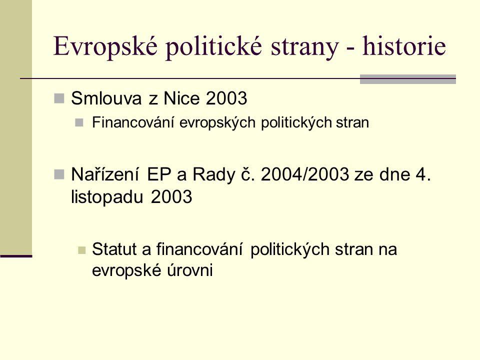 Evropské politické strany - historie Smlouva z Nice 2003 Financování evropských politických stran Nařízení EP a Rady č.