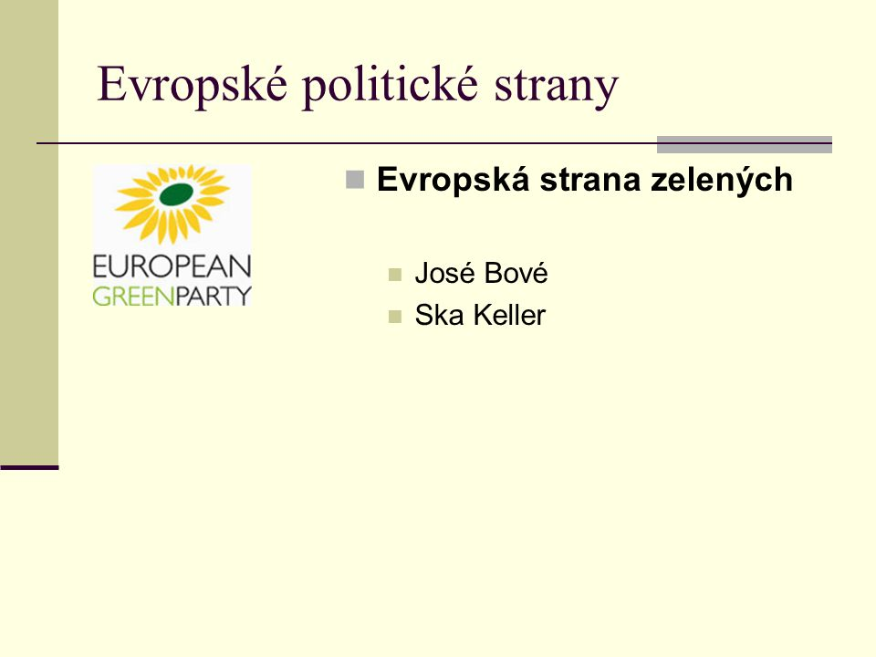 Evropské politické strany Evropská strana zelených José Bové Ska Keller