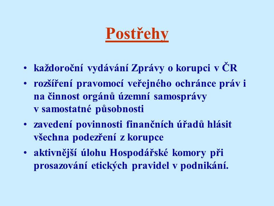 Postřehy každoroční vydávání Zprávy o korupci v ČR rozšíření pravomocí veřejného ochránce práv i na činnost orgánů územní samosprávy v samostatné působnosti zavedení povinnosti finančních úřadů hlásit všechna podezření z korupce aktivnější úlohu Hospodářské komory při prosazování etických pravidel v podnikání.