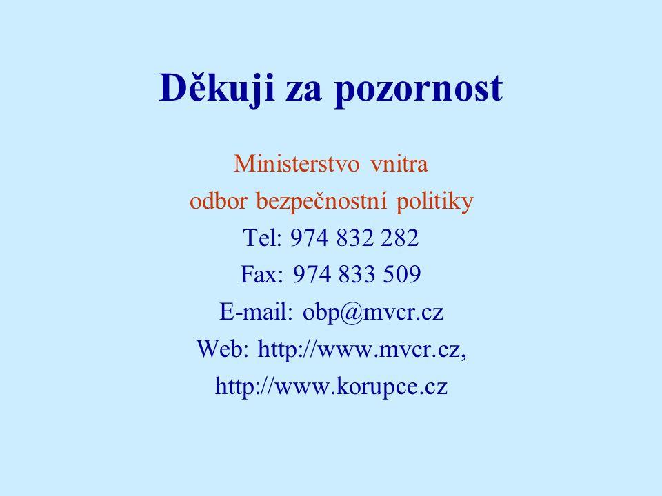 Děkuji za pozornost Ministerstvo vnitra odbor bezpečnostní politiky Tel: 974 832 282 Fax: 974 833 509 E-mail: obp@mvcr.cz Web: http://www.mvcr.cz, http://www.korupce.cz