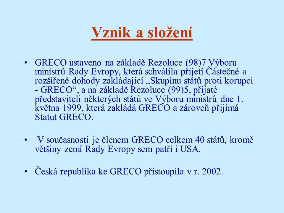 """Vznik a složení GRECO ustaveno na základě Rezoluce (98)7 Výboru ministrů Rady Evropy, která schválila přijetí Částečné a rozšířené dohody zakládající """"Skupinu států proti korupci - GRECO , a na základě Rezoluce (99)5, přijaté představiteli některých států ve Výboru ministrů dne 1."""