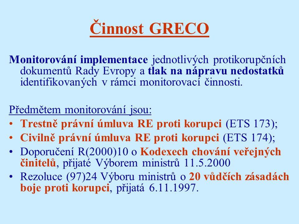 Činnost GRECO Monitorování implementace jednotlivých protikorupčních dokumentů Rady Evropy a tlak na nápravu nedostatků identifikovaných v rámci monitorovací činnosti.