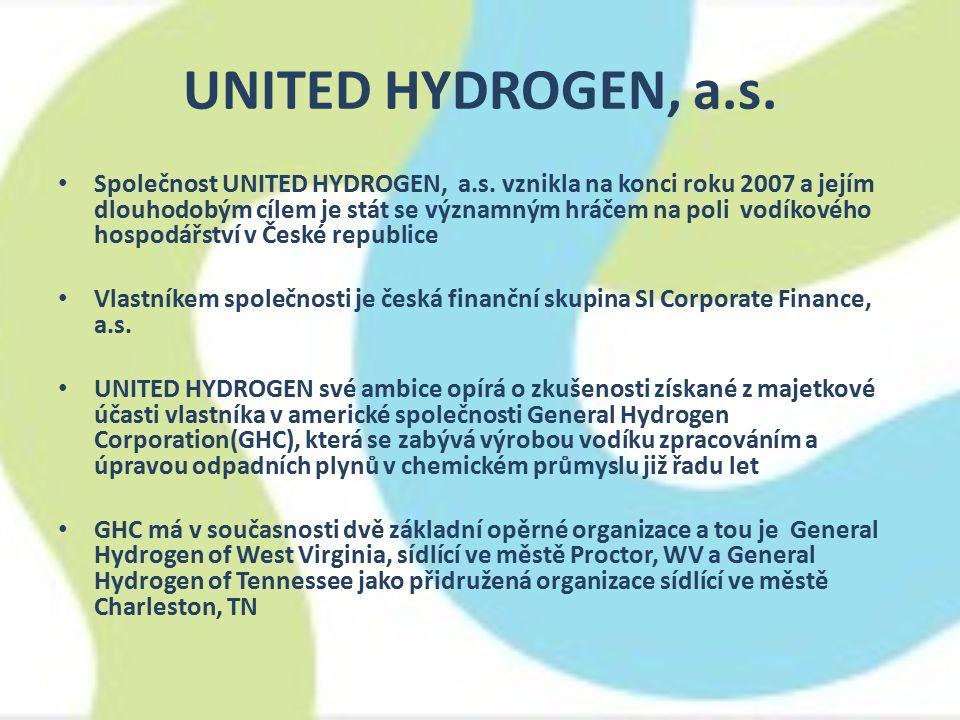 UNITED HYDROGEN, a.s. Společnost UNITED HYDROGEN, a.s. vznikla na konci roku 2007 a jejím dlouhodobým cílem je stát se významným hráčem na poli vodíko