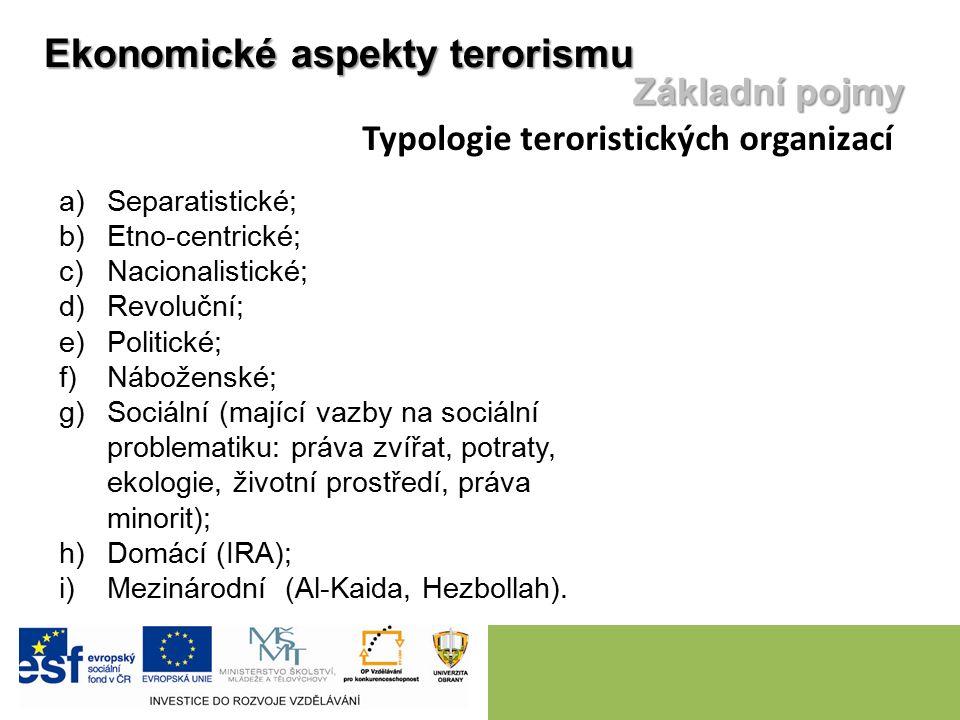 Ekonomické aspekty terorismu Základní pojmy Typologie teroristických organizací a)Separatistické; b)Etno-centrické; c)Nacionalistické; d)Revoluční; e)
