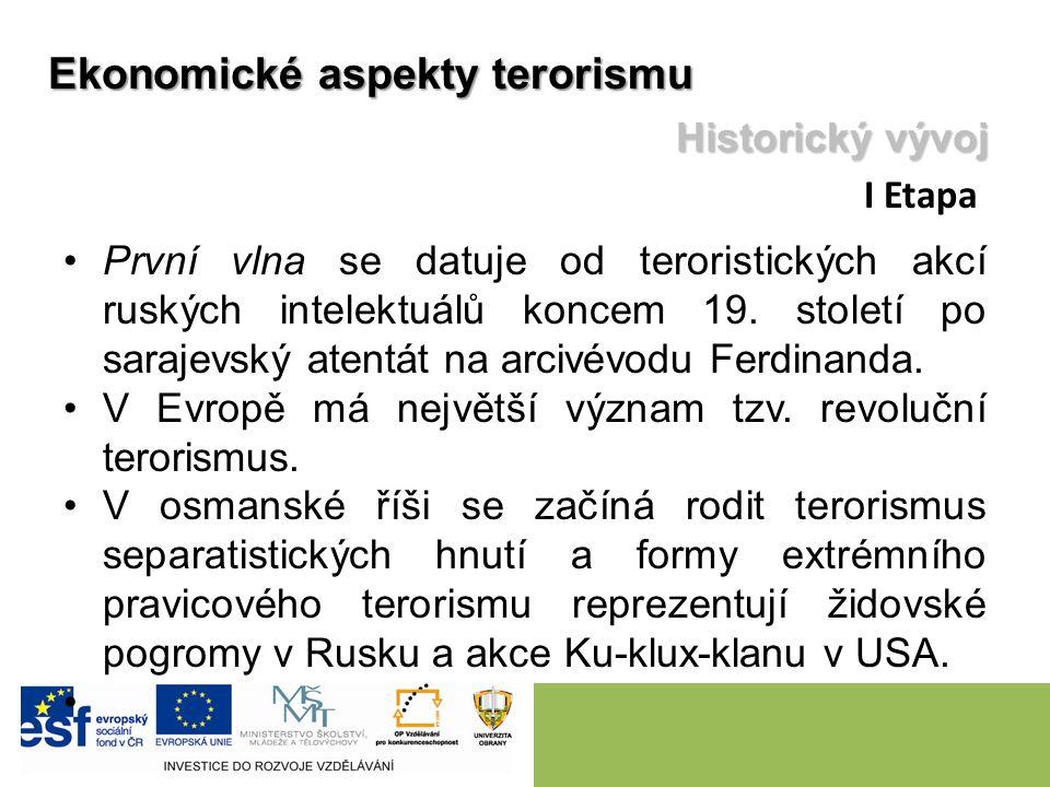 První vlna se datuje od teroristických akcí ruských intelektuálů koncem 19. století po sarajevský atentát na arcivévodu Ferdinanda. V Evropě má největ