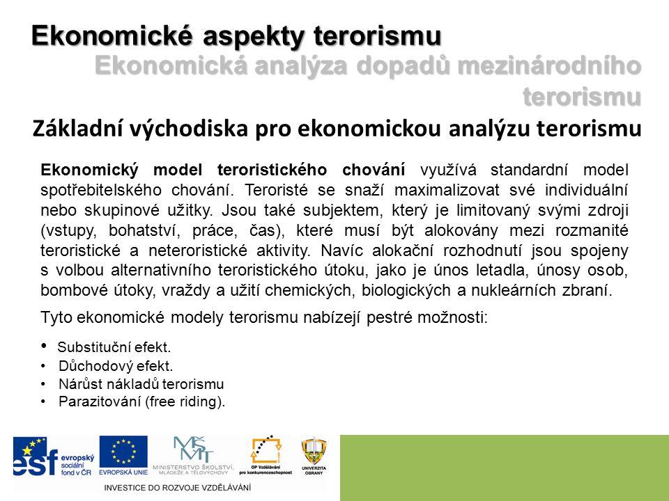 Ekonomický model teroristického chování využívá standardní model spotřebitelského chování. Teroristé se snaží maximalizovat své individuální nebo skup