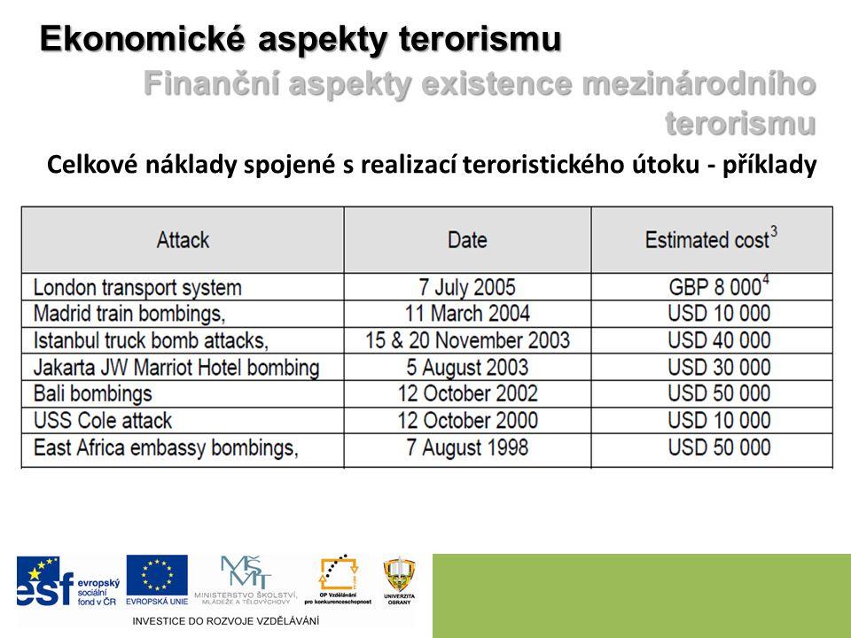 Ekonomické aspekty terorismu Finanční aspekty existence mezinárodního terorismu Celkové náklady spojené s realizací teroristického útoku - příklady