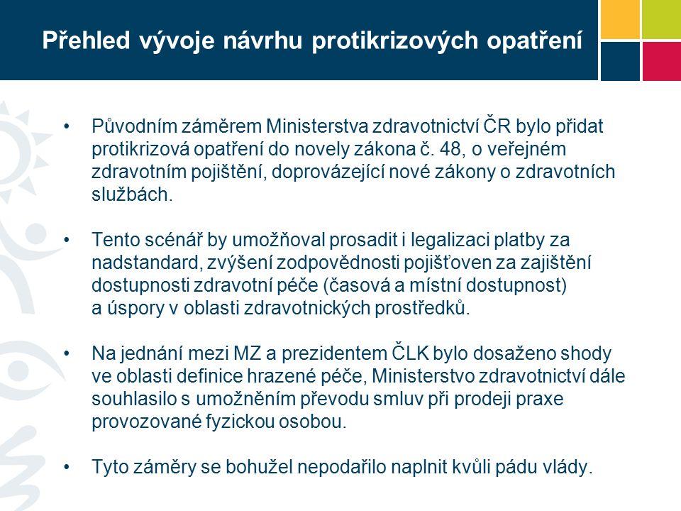 Přehled vývoje návrhu protikrizových opatření Původním záměrem Ministerstva zdravotnictví ČR bylo přidat protikrizová opatření do novely zákona č.