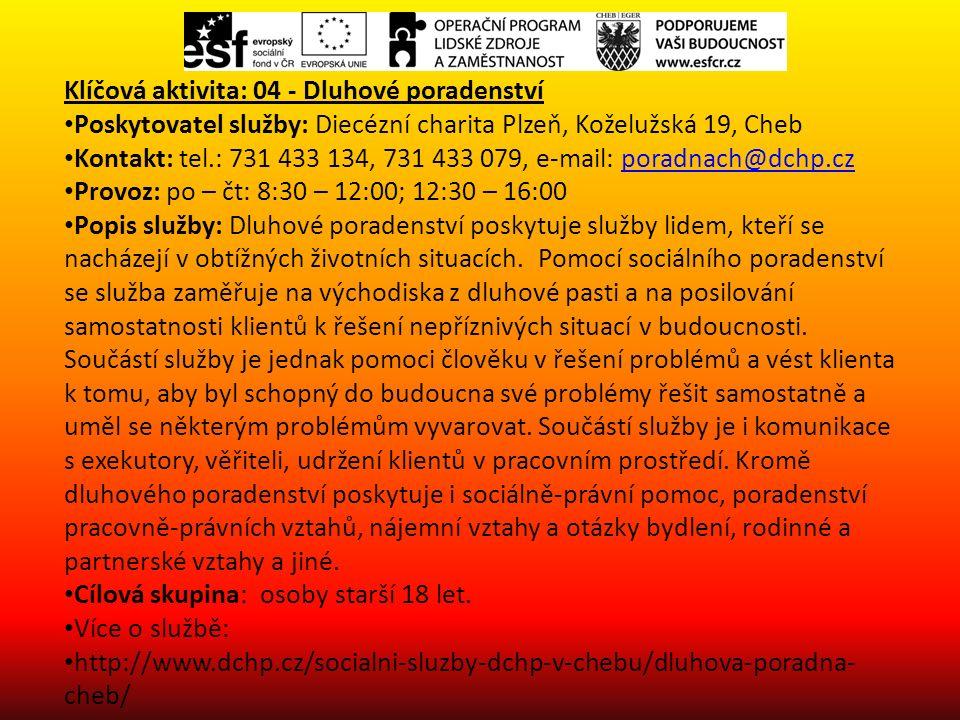 Klíčová aktivita: 04 - Dluhové poradenství Poskytovatel služby: Diecézní charita Plzeň, Koželužská 19, Cheb Kontakt: tel.: 731 433 134, 731 433 079, e-mail: poradnach@dchp.czporadnach@dchp.cz Provoz: po – čt: 8:30 – 12:00; 12:30 – 16:00 Popis služby: Dluhové poradenství poskytuje služby lidem, kteří se nacházejí v obtížných životních situacích.