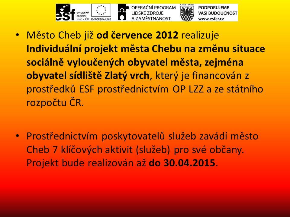 Město Cheb již od července 2012 realizuje Individuální projekt města Chebu na změnu situace sociálně vyloučených obyvatel města, zejména obyvatel sídliště Zlatý vrch, který je financován z prostředků ESF prostřednictvím OP LZZ a ze státního rozpočtu ČR.