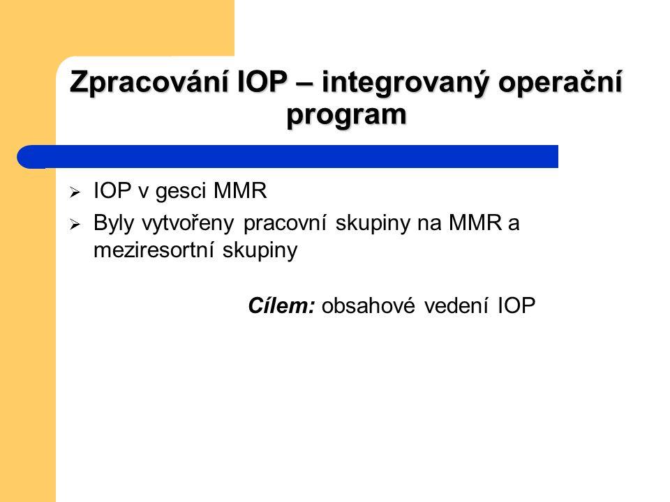 Zpracování IOP – integrovaný operační program  IOP v gesci MMR  Byly vytvořeny pracovní skupiny na MMR a meziresortní skupiny Cílem: obsahové vedení IOP