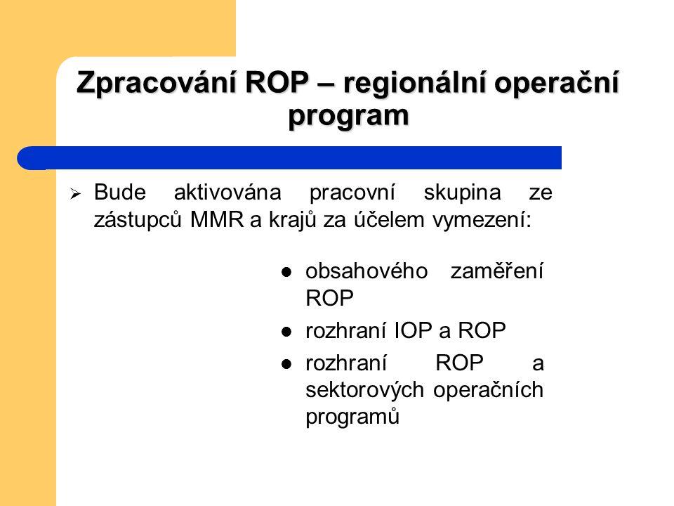 Zpracování ROP – regionální operační program  Bude aktivována pracovní skupina ze zástupců MMR a krajů za účelem vymezení: obsahového zaměření ROP rozhraní IOP a ROP rozhraní ROP a sektorových operačních programů