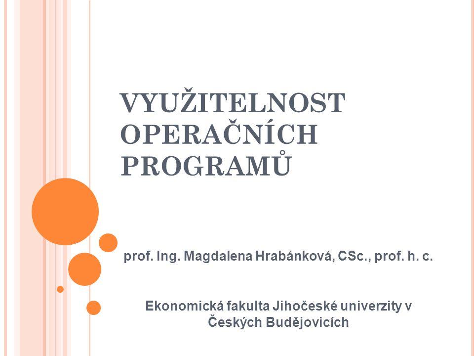 VYUŽITELNOST OPERAČNÍCH PROGRAMŮ prof.Ing. Magdalena Hrabánková, CSc., prof.