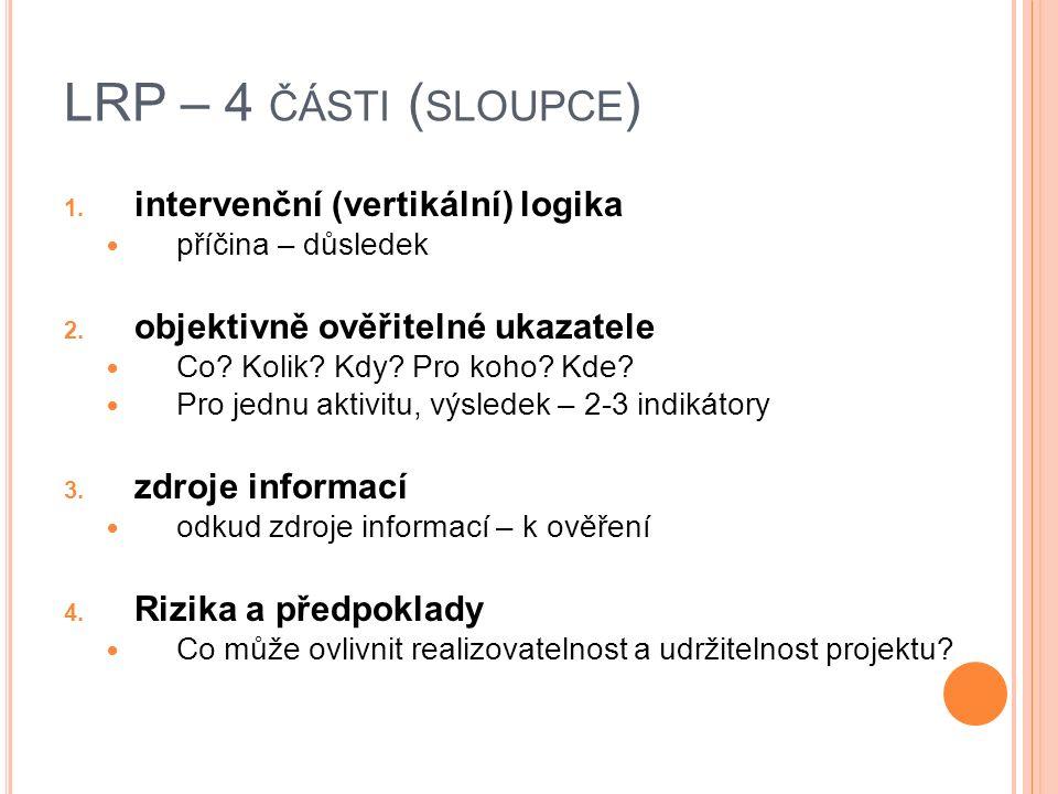 LRP – 4 ČÁSTI ( SLOUPCE ) 1.intervenční (vertikální) logika příčina – důsledek 2.