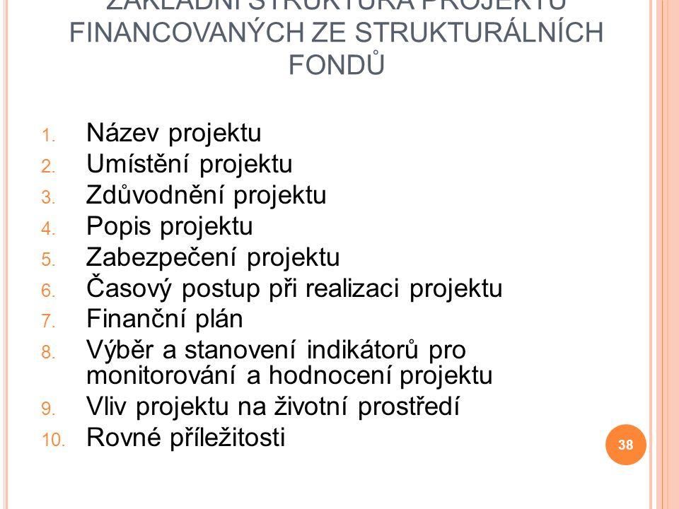 ZÁKLADNÍ STRUKTURA PROJEKTŮ FINANCOVANÝCH ZE STRUKTURÁLNÍCH FONDŮ 1.