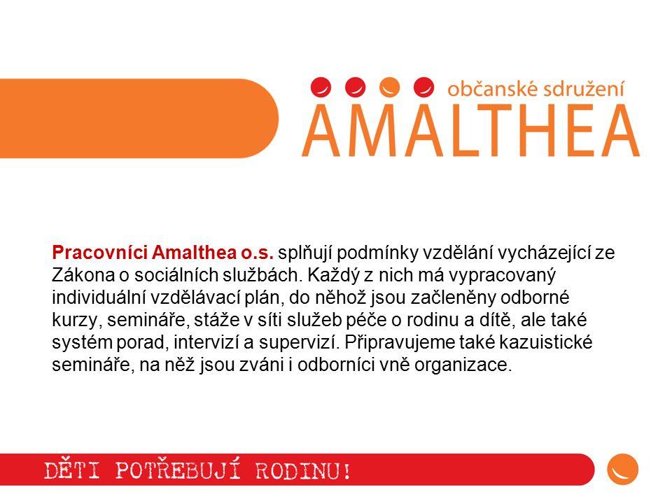 Pracovníci Amalthea o.s. splňují podmínky vzdělání vycházející ze Zákona o sociálních službách. Každý z nich má vypracovaný individuální vzdělávací pl