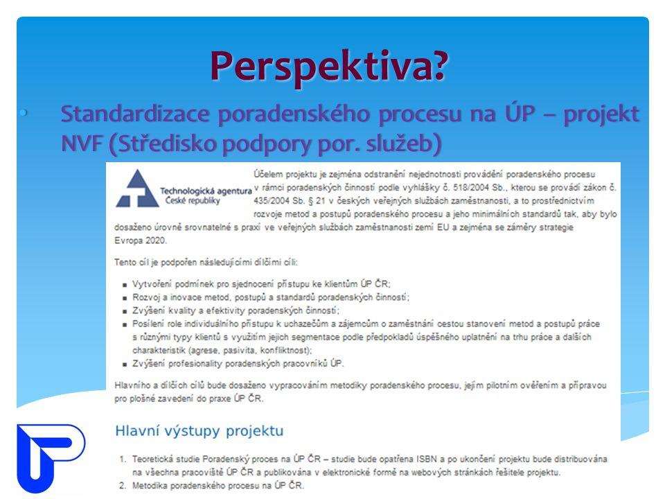 Perspektiva? Standardizace poradenského procesu na ÚP – projekt NVF (Středisko podpory por. služeb) Standardizace poradenského procesu na ÚP – projekt