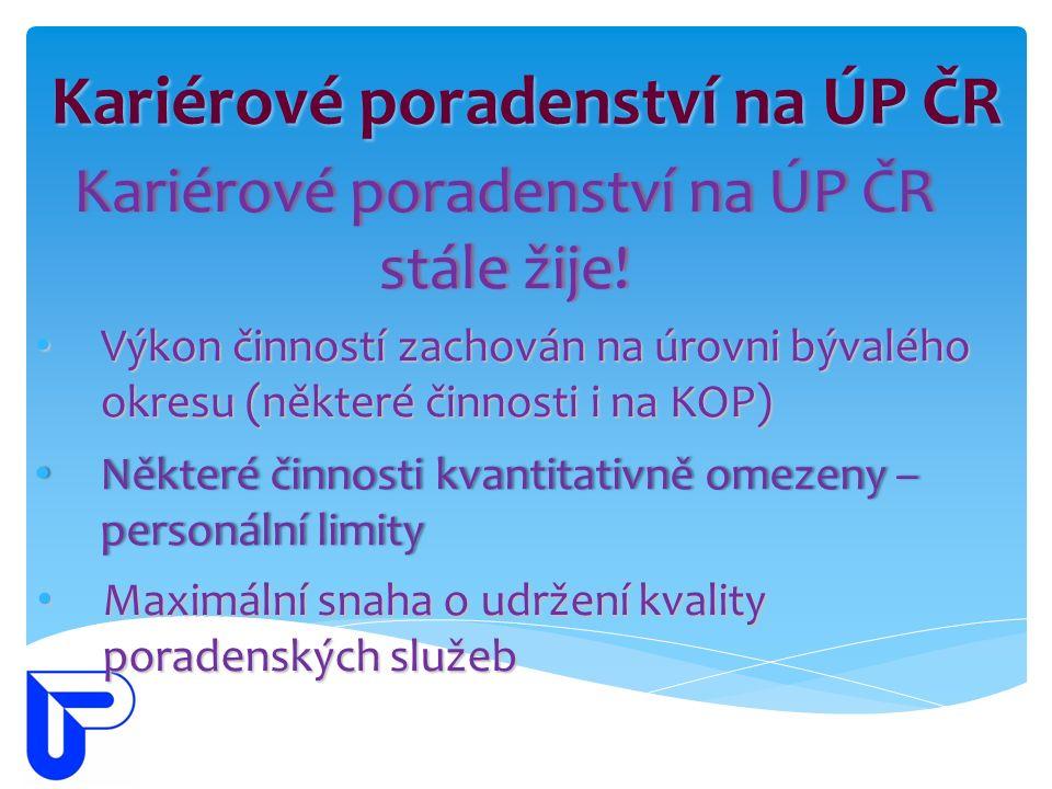 Kariérové poradenství na ÚP ČR Kariérové poradenství na ÚP ČR stále žije.