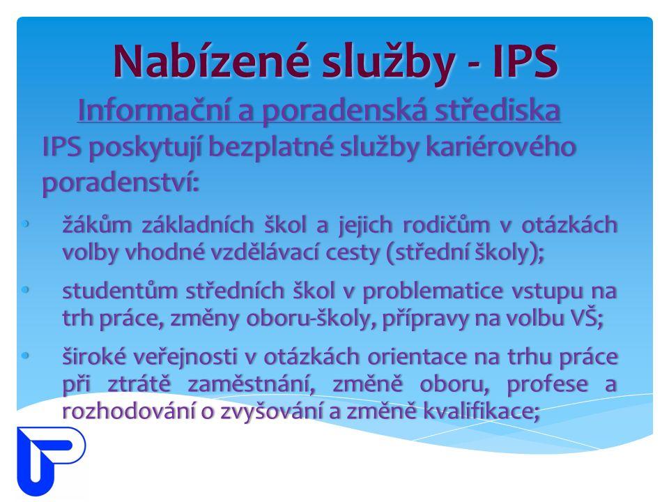 Nabízené služby - IPS Informační a poradenská střediskaInformační a poradenská střediska IPS poskytují bezplatné služby kariérového poradenství: žákům základních škol a jejich rodičům v otázkách volby vhodné vzdělávací cesty (střední školy); žákům základních škol a jejich rodičům v otázkách volby vhodné vzdělávací cesty (střední školy); široké veřejnosti v otázkách orientace na trhu práce při ztrátě zaměstnání, změně oboru, profese a rozhodování o zvyšování a změně kvalifikace; široké veřejnosti v otázkách orientace na trhu práce při ztrátě zaměstnání, změně oboru, profese a rozhodování o zvyšování a změně kvalifikace; studentům středních škol v problematice vstupu na trh práce, změny oboru-školy, přípravy na volbu VŠ; studentům středních škol v problematice vstupu na trh práce, změny oboru-školy, přípravy na volbu VŠ;