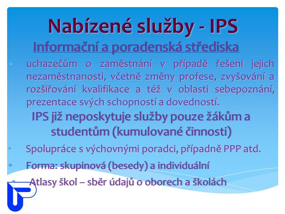 Nabízené služby - IPS Informační a poradenská střediskaInformační a poradenská střediska uchazečům o zaměstnání v případě řešení jejich nezaměstnanost