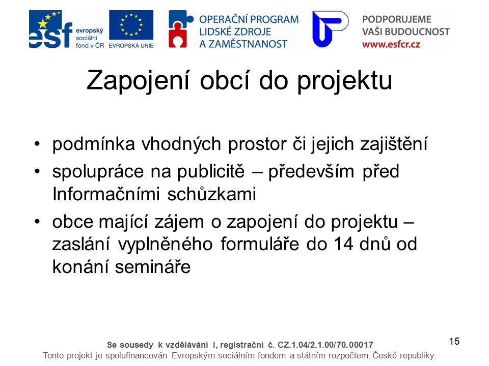 15 Se sousedy k vzdělávání I, registrační č. CZ.1.04/2.1.00/70.00017 Tento projekt je spolufinancován Evropským sociálním fondem a státním rozpočtem Č
