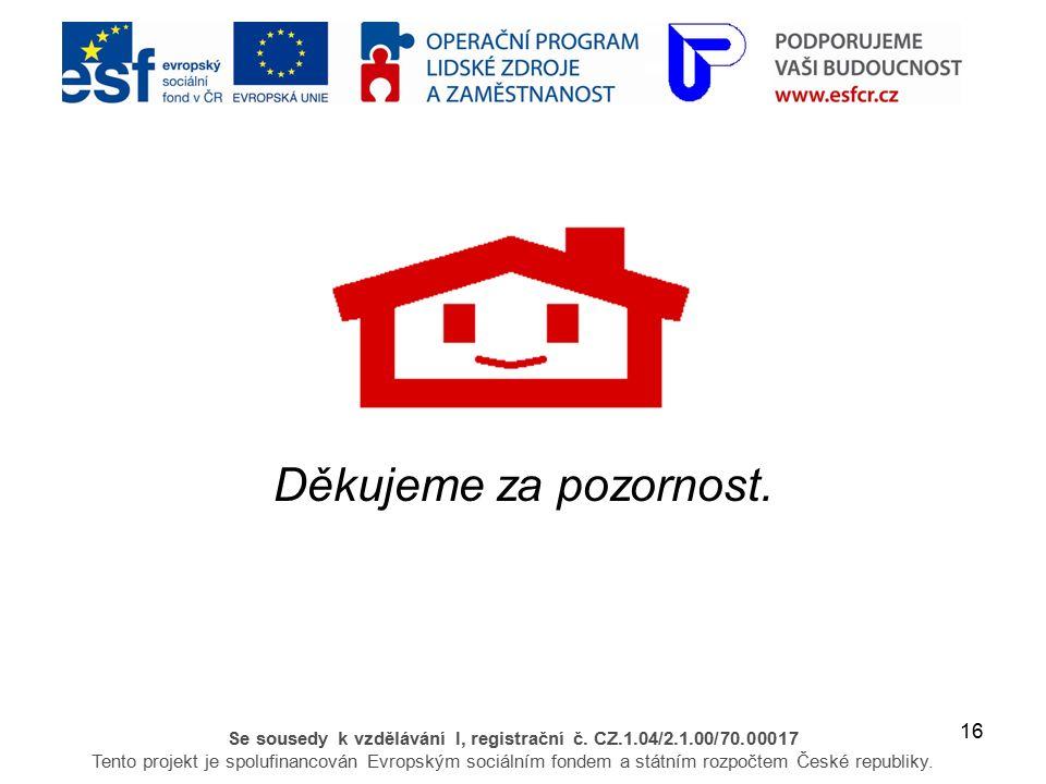 16 Se sousedy k vzdělávání I, registrační č. CZ.1.04/2.1.00/70.00017 Tento projekt je spolufinancován Evropským sociálním fondem a státním rozpočtem Č