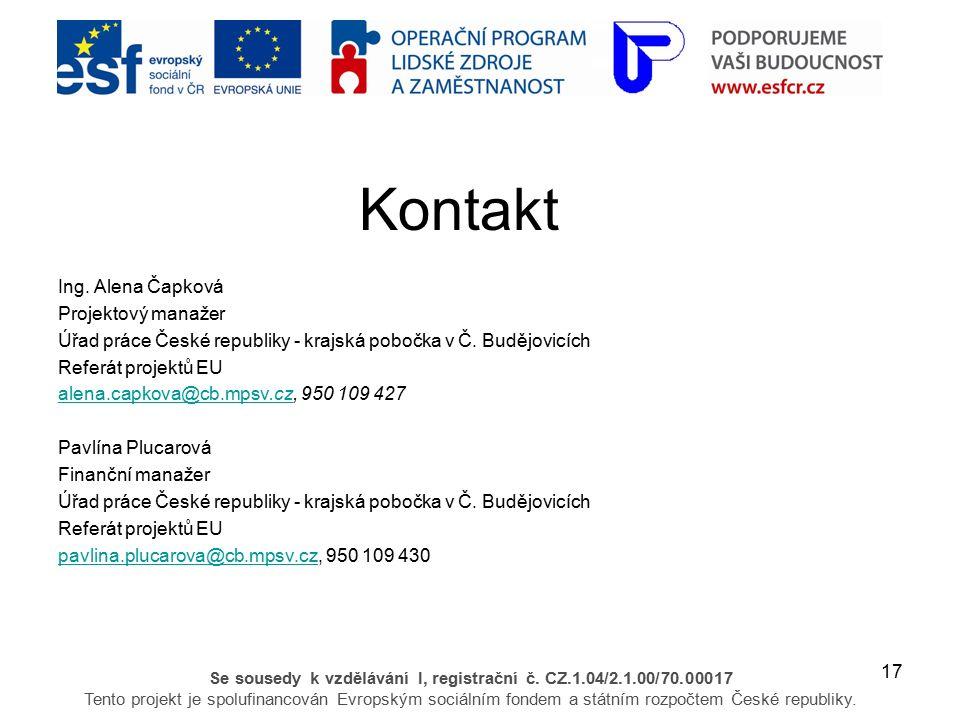 17 Se sousedy k vzdělávání I, registrační č. CZ.1.04/2.1.00/70.00017 Tento projekt je spolufinancován Evropským sociálním fondem a státním rozpočtem Č