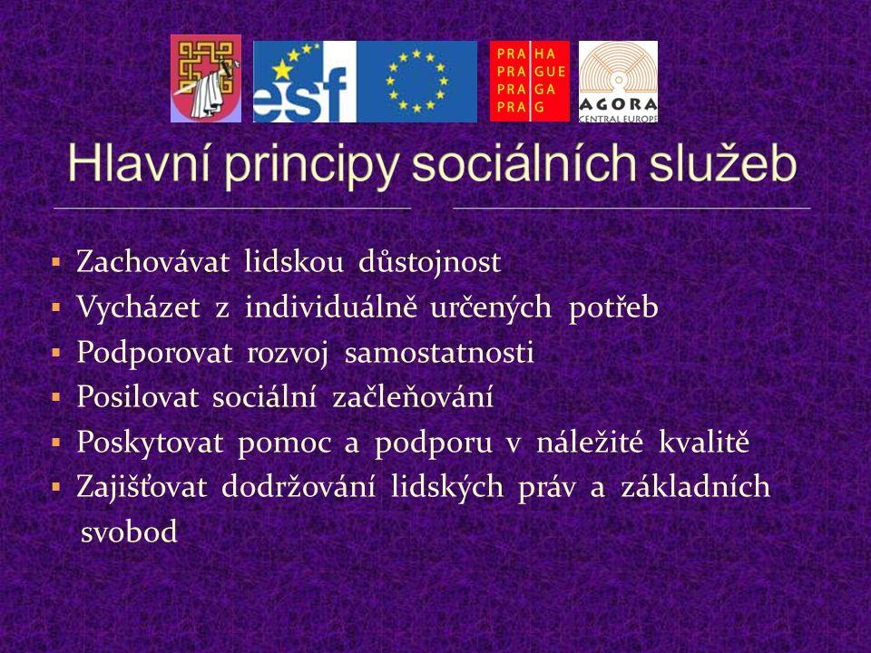  Zachovávat lidskou důstojnost  Vycházet z individuálně určených potřeb  Podporovat rozvoj samostatnosti  Posilovat sociální začleňování  Poskytovat pomoc a podporu v náležité kvalitě  Zajišťovat dodržování lidských práv a základních svobod