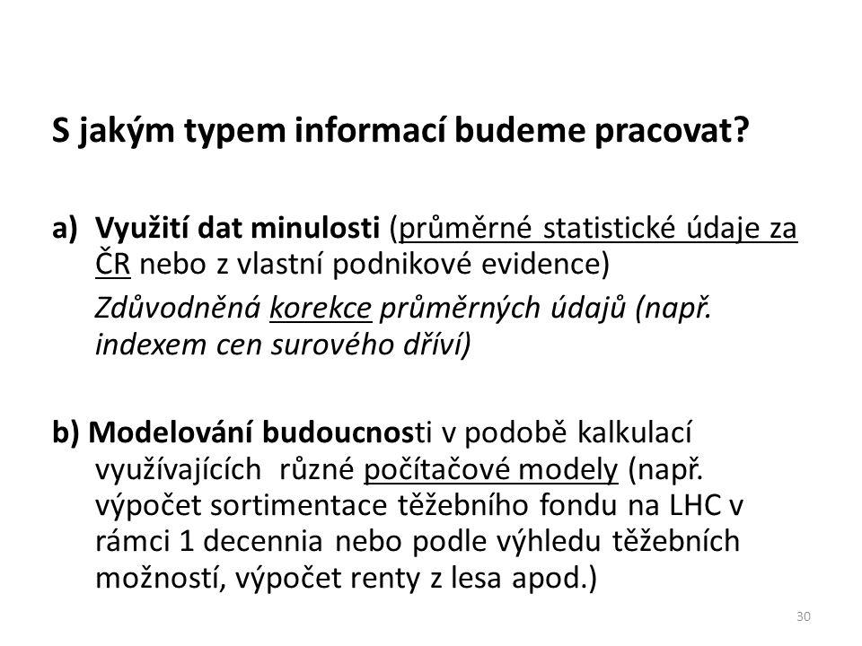 30 S jakým typem informací budeme pracovat? a)Využití dat minulosti (průměrné statistické údaje za ČR nebo z vlastní podnikové evidence) Zdůvodněná ko