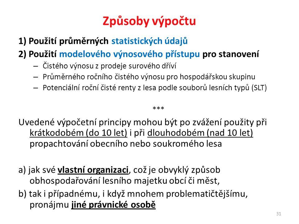 31 Způsoby výpočtu 1) Použití průměrných statistických údajů 2) Použití modelového výnosového přístupu pro stanovení – Čistého výnosu z prodeje surového dříví – Průměrného ročního čistého výnosu pro hospodářskou skupinu – Potenciální roční čisté renty z lesa podle souborů lesních typů (SLT) *** Uvedené výpočetní principy mohou být po zvážení použity při krátkodobém (do 10 let) i při dlouhodobém (nad 10 let) propachtování obecního nebo soukromého lesa a) jak své vlastní organizaci, což je obvyklý způsob obhospodařování lesního majetku obcí či měst, b) tak i případnému, i když mnohem problematičtějšímu, pronájmu jiné právnické osobě