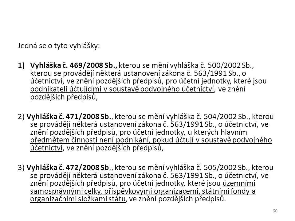 60 Jedná se o tyto vyhlášky: 1)Vyhláška č. 469/2008 Sb., kterou se mění vyhláška č. 500/2002 Sb., kterou se provádějí některá ustanovení zákona č. 563