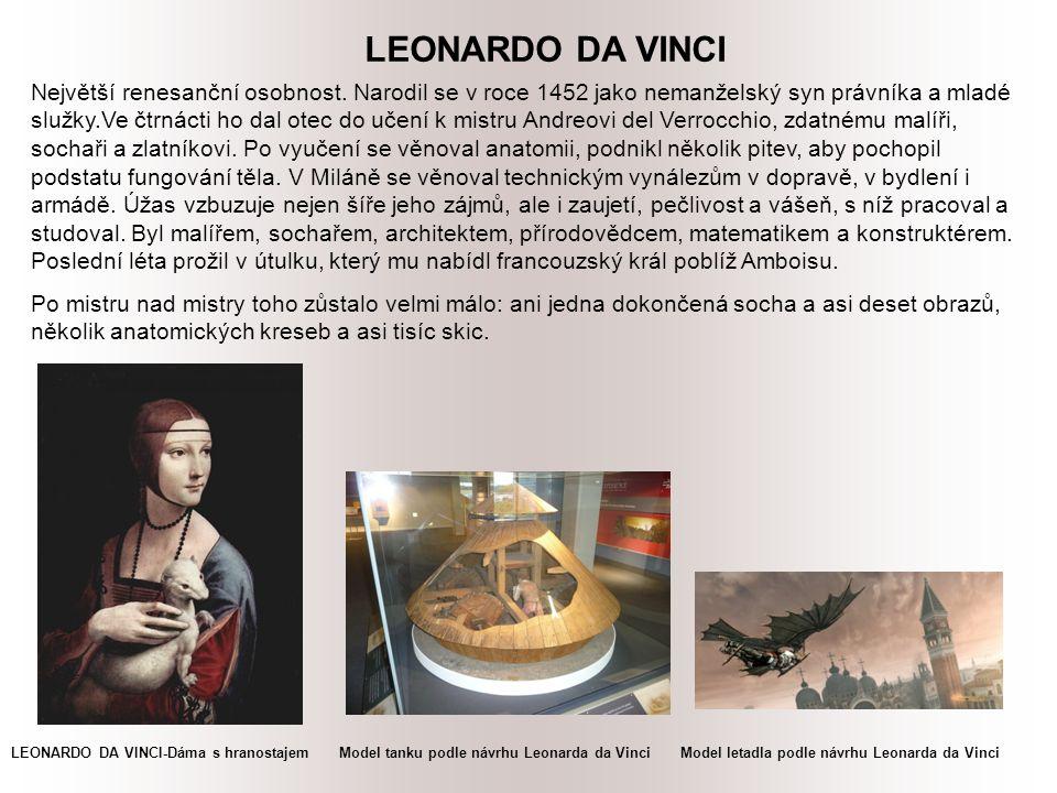 LEONARDO DA VINCI Největší renesanční osobnost.