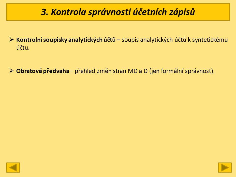 3. Kontrola správnosti účetních zápisů  Kontrolní soupisky analytických účtů – soupis analytických účtů k syntetickému účtu.  Obratová předvaha – př